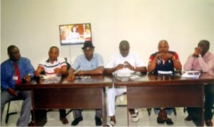 Members of Local Organising Committee (LOC) of Sports Writers Association of Nigeria (SWAN),  Rivers State chapter, during a press briefing on the association's 2015 National Full Council Meeting in Port Harcourt on Monday. From right to left are the Secretary, Olaleka Ige, Publicity Secretary, Gabriel Nwanetanya, Chairman, Honour Sirawoo, Chairman, Venue/Protocol Committee, Udede Jim-Opiki, Chairman, Transport Commitee, Anderson Hart and Chairman, Contact/Security Committee, Mike Mbonye             Photo: Chris Monyanaga