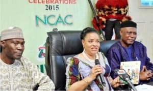Director, Finance and Accounts, National Council for Arts and  Culture  (NCAC), Mr Musa Baburia, Director General, Mrs Dayo Keshi and Director,  Extension Services, Mr Hilary Ogbechie, at a news conference on NCAC's  40th Anniversary in Abuja, yesterday.