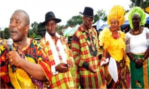 L-R:  Controller General of Prisons (Cgp), Mr Ezenwa Ekpendu, Controllers of Prisons,  Enugu State Command, Sir Ikechukwu Uchenwa,  Edo State Command, Mr Etowa Nkanu, National President, Prisons Officers Wives Association (Prowa), Mrs Lizzie Ekpendu and wife of former Minister of Interior, Mrs Ori Moro,  at a Memorial Service in honour of Mother of the Cgp, Ezinne Anna Ekpendu inMbaise Community recently