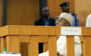 Senate President, Dr Bukola Saraki at the Code of Conduct Tribunal, where he went to take a plea on the 13-count charge slammed on him over alleged false declaration of  assets in Abuja, yesterday.