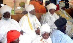 Traditional rulers from Gombe State, during the inauguration of Bank of Industry Zonal Office in Gombe recently.