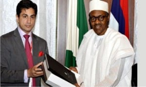 President Muhammadu Buhari (right), receiving Centenary City documents from Executive Director for Africa, Eagle Hills, Mr Jaimal Shergill, during a meeting of the Centenary City Board members with the President at the Presidential Villa in Abuja, last Friday