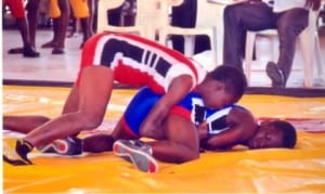 Female wrestlers in contest at a past National Schools Sports festival.             Photo: Chris Monyanaga