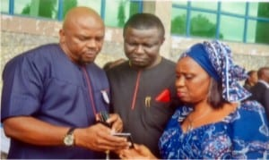 Rivers State Commissioner for Agriculture, Mrs Onimim Jacks (right),  with her Finance counterpart,  Dr Fred Kpakol (middle) and fromer Commissioner for Sports, Hon. Boma Iyaye,  during the 2015 Rivers State Civil Service Day celebration in Port Harcourt on Tuesday                   Photo: Chris  Monyanaga