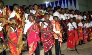 Children of Archbishop Valerian Okeke Music Academy, performing at the 2015 Music Cantata of the Academy  at  the Basilica of the Most Holy Trinity in Onitsha, recently.           Photo: NAN