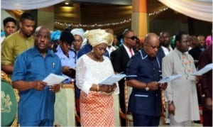 L-R:Rivers State Governor, Nyesom Ezenwo Wike, Deputy Governor, Dr Ipalibo Banigo, National Chairman of PDP, Prince Uche Secondus and Rivers State Speaker of House of Assembly, Rt. Hon. Ikunyi Owaji Ibani, singing praises during the interdenominational church service to mark Governor Wike's 100 days in office at Obi Wali International Conference Centre, Port Harcourt, yesterday.