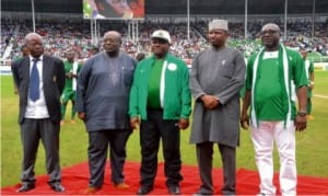 Governor Nyesom Wike (middle), with Sole Administrator, RIWAMA, Bro Felix Obuah (right) and NFF officials, during the match between Nigeria and Congo in Port Harcourt                   Photo: Nwiueh Donatus Ken