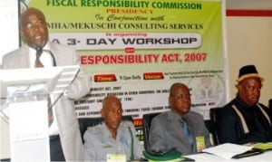 L-R: Acting Chairman, Fiscal Responsibility Commission (FRC), Mr Victor Muraako, representative of Nigeria Customs Service, Mr Lawan Ahmed, Chairman of Taraba FRC, Mr Benjamin Ibisu  and Acting Head, Directorate of Legal, Investigation and Enforcement of FRC, Mr Charles Abana, during a workshop on Fiscal Responsibility Act 2007  in Abuja, yesterday
