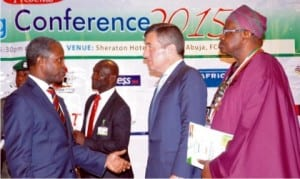 L-R:Vice President Yemi Osinbajo, discussing with U.S. Assistant Secretary, Bureau of Economic and Business Affairs, Charles Rivkin and National President, Nigerian-American Chamber of  Commerce, Chief  Olabintan Famutimi, at the Small and Medium Enterprises (SME) Financing Conference  In Abuja,  yesterday