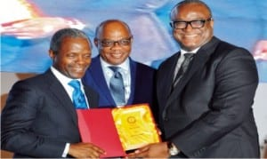 Vice President Yemi Osinbajo (left),  receiving  a souvenir  from President of Nigeria Bar Association (NBA), Augustine Alegeh,  during NBA's 55th  Annual General Conference   in  Abuja recently  . With them is the former President of the  association , Olisa Agbakoba (SAN).