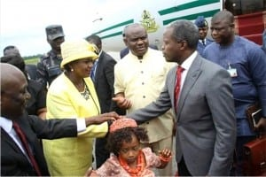 Vice President Yemi Osinbajo (2nd right), being received by Governor Nyesom Wike of Rivers State (middle), his Deputy, Dr (Mrs) Ipalibo Harry Banigo (2nd left), during the Vice President's visit to the State, recently.
