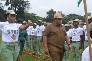 Secretary to Rivers State Government,Chief Kenneth Kobani (3rd right), inspecting a guard of honour mounted by National Youth Service Corps (NYSC), Batch C members, during their passing out parade in Port Harcourt, yesterday