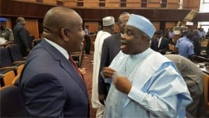Governor of Rivers State, Chief Nyesom Wike (left), exchanging pleasantries with his Sokoto State counterpart, Alhaji Aminu Tambuwal at the Body of Benchers meeting at the Supreme Court Complex,  Abuja, on Monday.