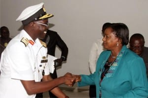 Rivers State  Deputy Governor, Dr. (Mrs) Ipalibo Harry-Banigo, in a handshake with the Flag Officer Commanding (FOC) Eastern Naval Command, Rear Admiral Atiku Abdulkadir, during a courtesy visit to Government House, Port Harcourt, recently.