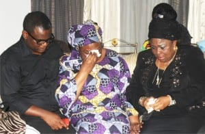 Son of Late Alamieyeseigha, Victor, with Late Alamieyeseigha's widow, Marget (middle) and wife of former President Goodluck Jonathan, Dame Patience Jonathan, during a condolence visit to the  Alamieyeseigha's  family home  in Port Harcourt  on Tuesday.