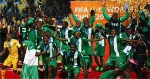 Golden Eaglets celebrating with the cup after their victory in Vina Del Mar, Chile, this morning.