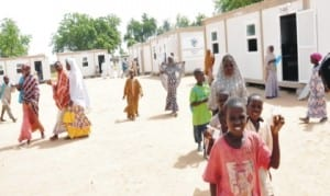 Students of the Mobile Containerised Schools Programme of the presidential initiative for the North East at Dalori idps camp in Maiduguri, recently