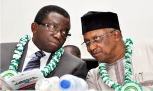 Minister of Health, Dr Isaac Adewole (l), with the Minister of State, Dr Osagie Ehanire, During The  First Annual Primary Health Care Service Lecture, in Abuja, yesterday.