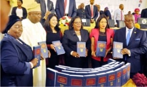L-R: Lagos State Deputy Governor, Dr Idiat Adebule, Governor Akinwumi Ambode of Lagos State, Managing Director, Africa, Thomson Reuters, Sneha Shah, Lagos State Chief Judge, Justice Funmilayo Atilade, Chairman, Lagos State House of Assembly Committee on Judiciary, Mrs Funmi Tejuosho and Lagos State Attorney-General and Commissioner for Justice, Mr Adeniji Kazeem, at the launch of Laws of Lagos State 2015 by the governor  in Lagos, recently