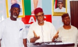 L-R: APC National Auditor, Chief George Moghalu, APC National Chairman, Chief John Oyegun and Deputy  Chairman, Chief Segun Oni, during the National Chairman's interactive session with journalisist in Abuja on Wednesday.