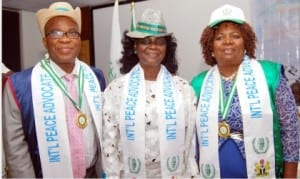 L-R: Chairman, Orient Group, Mr Godwin Ezeemo, Director, Planning, Research and Strategy, Voice of Wisdom and Vision International, Prof. Funmi Adesanya-Davies, and Mrs Atim Ita, after receiving their certificates of UN Peace Advocates in Port Harcourt, yesterday