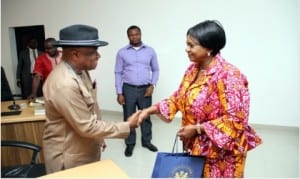 Rivers State Deputy Governor,  Dr. (Mrs) Ipalibo Harry Banigo , in a handshake with the National President, Nigerian Institute of Architects (NIA), Arc. Tonye Oliver Braide, during a courtesy visit to Government House, Port Harcourt, recently