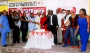 Members of Nigerian Institute of Public Relations (NIPR), Rivers State chapter and other guests, cutting the end of year cake, during the body's end of year party and awards ceremony in Port Harcourt, recently. Photo: Egberi A. Sampson