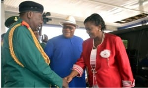 Rivers State Deputy Governor, Dr (Mrs) Ipalibo Harry-Banigo (right), being welcomed by the Chairman, Nigerian Legion, Rivers State chapter, Col Wilberforce Josiah (left), during the 2016 Armed Forces Remembrance Day celebration in Port Harcourt. With them is Secretary to the State Government, Chief Kenneth Kobani.                                                                                                                                                    Photo: Nwuveh Donatus Ken