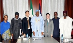 L-R: Consultant, Crimsonlogic, Tsiona Chan, a member of the delegation, Mr Bello Garba, Senior Manager, Business Development, Middle East and Africa, Mr Lim Chee Boon, President Muhammadu Buhari, Assistant Chief Executive Officer, Crimsonlogic  Pte  Ltd, Mr Chong Kok Keong, Chairman, Etisalat, Mr Hakeem Bello and the Chief of Staff, Alhaji Baba Kyari,  after a meeting of the President with  the delegation from Crimsonlogic at the Presidential Villa in Abuja on Monday