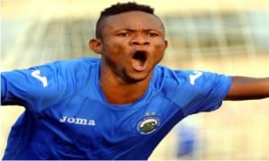 Kinglsey Sokari celebrating after  he won the seventh league title with Enyimba