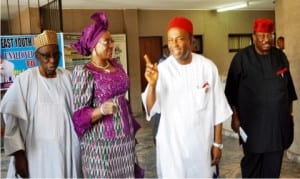 L-R: Former Minister of State for Science and Technology, Alhaji Abdulahi Ibrahim, former Minister of Science and Technology, Mrs Pauline Tallen, the Minister of Science and Technology, Dr Ogbonnaya Onu and former Minister of Science and Technology, retired Maj.-Gen. Sam Momah, during the meeting of the Minister of Science and Technology and the Permanent Secretary with former Ministers of Science and Technology, in Abuja, yesterday.