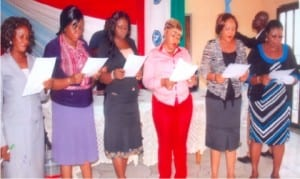 The executives of the Women Committee of NCSU, Rivers State council were inaugurated in Port Harcourt, yesterday. R-L: Chairperson, Comrade Florence Bobmanuel, vice chairperson, Comrade Joy Oguigba, secretary, Comrade Leticia Mac-Pepple, assistant secretary, Comrade Gladys Daniel Jack, ex-officio member, Comrade Soba Pepple and ex-officio member, Comrade Roseline Akiniwo, taking their oath of office.
