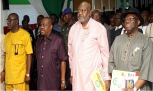 L-R: Rivers State  PDP Chairman, Bro Felix Obuah, Rivers State Governor, Chief  Nyesom  Wike,  former NBA National President,  Chief OCJ Okocha, SAN,  and  Chairman of Greater Port Harcourt Development Authority,  Chief Ferdinand Alabrabra, at the Rivers State PDP secretariat  in Port Harcourt after the commissioning of the  ultra modern multi purpose hall, yesterday