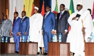 L-R: Presidents John Mahama of Ghana, Boni Yayi of Benin Republic, Faure Gnassingbe of Togo, Muhammadu Buhari of Nigeria and Macky Sall of Senegal, President of Economic Community of West African State (ECOWAS) Commission, Kadre Ouedraogoa, and President Yahya Jammeh of Gambia, at the 40th anniversary of ECOWAS in Abuja,yesterday
