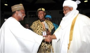 ECOWAS' distinguished awardee and former Nigeria's Head of State, Gen. Yakubu Gowon  (rtd) (left), being congratulated by Sultan of Sokoto, Alhaji Sa'ad Abubakar III, at the 40th anniversary of Economic Community of West African State (ECOWAS), in Abuja, yesterday
