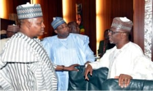 L-R: Governor Kashim Shettima of Borno State, Governor Muhammed Abubakar of Bauchi State and Governor Idris Wada of Kogi State, during the National Economic Council meeting at the Presidential Villa in Abuja, yesterday.