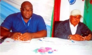 Rivers State Chairman, Nigeria Civil Service Union (NCSU), Comrade O. T. Lilly-West (right), with the State Secretary, Comrade Dan Otakpo, during the inauguration of the executives of the Women Committee of the union in Port Harcourt on Thursday.