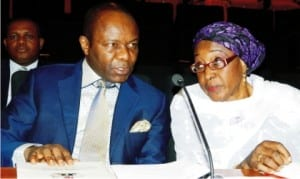 Group Managing Director, Nigerian National Petroleum Corporation (Nnpc), Dr Ibe Kachikwu, with the Permanent Secretary, Dr Jemila Suara, during Nnpc's news conference on the forthcoming 6th African Petroleum Congress and Exhibition in Abuja, recently.