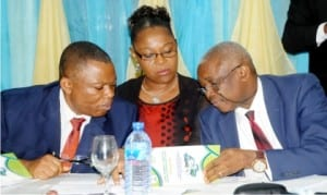 Representative of the Director-General, National Environmental  Standards and Regulations Enforcement Agency (NESREA), Mr Victor Ojogbo, Director, Inspection and Enforcement, Mrs Miranda Amachree and Director, Partnership Education, Mr Aniefo Akpabio, at the NESREA National Regulatory Dialogue on the Implementation of National Environmental Reulations in Nigeria, in Abuja recently.