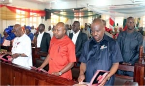 Rivers State Governor, Chief Nyesom Wike (right), flanked by the Speaker, Rivers State House of Assembly, Rt. Hon. Dabotorudima Adams (middle), and Hon. Ken Chikere at the memorial service of late Chief Robert Chikere at St. Paul's Anglican Church, Port Harcourt, Saturday