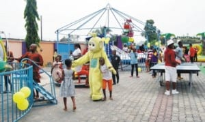 Children playing at a Recreation Centre in Port Harcourt on Monday as part of the Christmas festivities