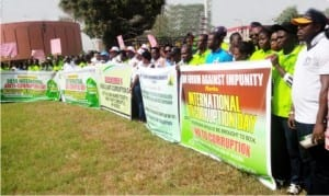 Members of the Civil Society Organisations during the 2015 Anti-Corruption Day rally in Benin, recently