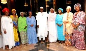 L-R: National Patron, Women in Politics Forum (WIPF),  Iyom Josephine Anenih, Treasurer, Mrs Ezinne Agbiogwu, Vice-President, North, Hajiya  Hafsat  Mohd-Baba,Vice-President, South, Mrs Sharon Ikeazor, President Muhammadu Buhari,  Minister of  State for Foreign Affairs. Hajiya Khadijat Buka Ibrahim, WIPF President, Mrs Ebere  Ifendu, Secreetary, Hajiya Fatima Saleh,  Chief Executive Officer, Nigerian Women Trust Fund, Mrs Olufunke Baruwa, during the visit of  the forum to the Presidential Villa in Abuja on Friday