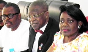 L-R: Special  Adviser to the Minister of Information and Culture on Media, Mr Segun Adeyemi, the Minister, Alhaji Lai Mohammed and Permanent Secretary, Mrs Ayotunde Adesugba, during the minister's meeting with  members of Broadcasting Organisation of Nigeria (BON) in Abuja, yesterday