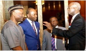 L-R: Minister of Budget and National Planning, Sen. Udoma Udoma, Minister of State for Petroleum, Dr Ibe Kachikwu, Minister of Health, Prof. Isaac Adewale and Minister of Works, Housing and Power, Babatunde Fashola,  at the inauguration of National Research and Innovation Council in Abuja, last Thursday