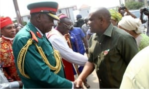Rivers State Governor, Chief Nyesom Wike (right), in a handshake with the Chairman, Nigeria Legion, Rivers State, Col. Wilberforce Josiah (2nd left), at the Inter-denominational Service to mark the 2016 Armed Forces Remembrance Day, yesterday.