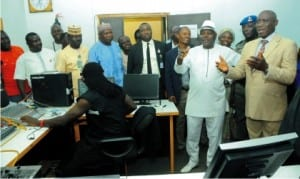 Deputy Governor of Plateau State/Commissioner overseeing Tertiary Education, Prof. Sonni Tyoden (2nd right) inspecting the Plateau State Polytechnic Rock FM Studio, during a visit to the institution in Jos, yesterday. With him are the Rector, Mr Dauda Gyemang (right) and other dignitaries.