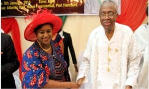 Rivers State Deputy Governor, Dr. (Mrs) Ipalibo Harry Banigo, in a handshake with Elder Sam Mbata, during a special banquet in honour of the elder statesman by the Full Gospel Business Men's Fellowship Int'l Limited in Port Harcourt on Friday.