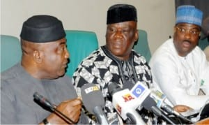 L-R: House of Representatives' Minority Leader, Rep. Leo Ogor; Rep. Jerry Alagbaoso and Rep. Lovett Idisi, at a news conference by the PDP caucus in the House of Representatives on the detention of PDP's Spokesman, Olisa Metu, in Abuja, yesterday