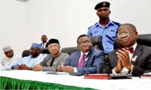 L-R: Executive Director, National Primary Health Care Development Agency, Dr Ado Muhammed, Director-General, National Orientation Agency, Mr Mike Omeri, Minister of State for Health, Dr Osagie Ehanire, Minister of Health, Prof. Isaac Adewole and Minister of Information and Culture, Alhaji Lai Mohammed, during a joint Ministerial news conference to give update on the outbreak of Lassa Fever in Nigeria, in Abuja, yesterday